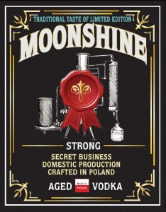 "Etykieta na butelkę ""Moonshine STRONG Aged Vodka"""